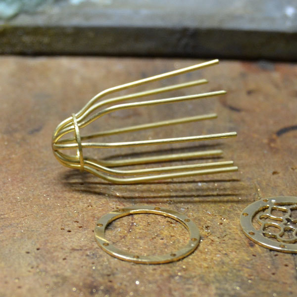イエローゴールドK18YG製鳥籠鳥かごバードゲージチャームミニチュアペンダント手作りハンドメイド加工5
