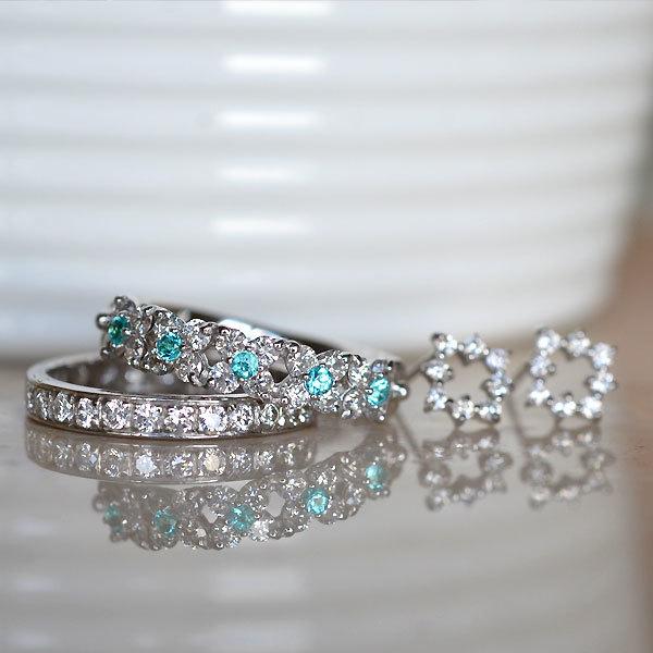 パライバトルマリンダイアモンドリングハーフエタニティ指輪ダイアモンドピアス