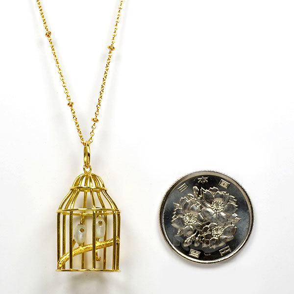 K18YG製金ゴールド淡水真珠鳥籠鳥かごバードゲージミニチュアモチーフペンダントトップネックレス手作り加工ハンドクラフト