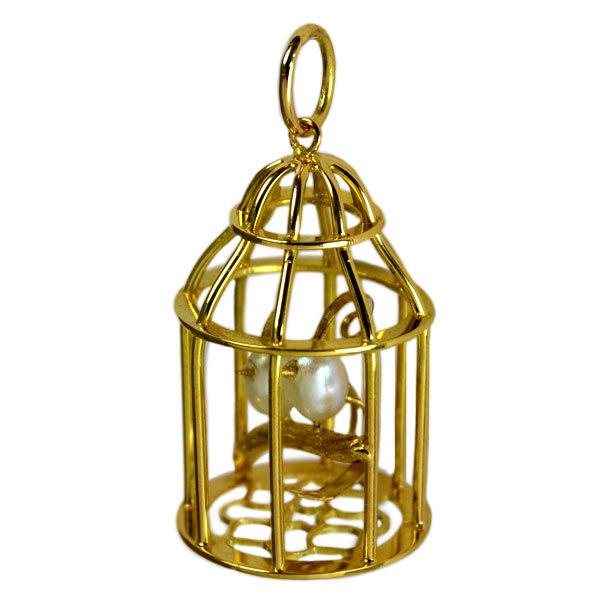 K18YG製金ゴールド淡水真珠鳥籠鳥かごバードゲージミニチュアモチーフペンダントトップネックレス手作り加工ハンドクラフ