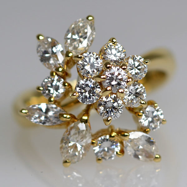 K18YG製ダイアモンドアシンメトリー非対称デザインリング指輪