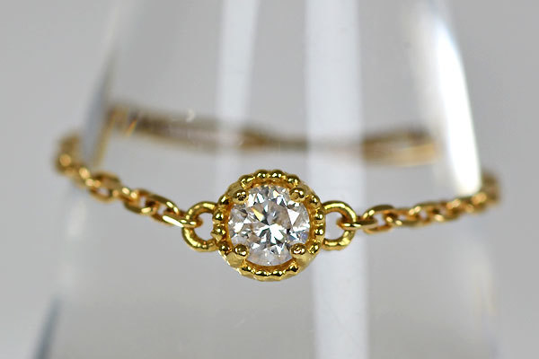 K18YG製ダイアモンドチェーンリングフリーサイズ指輪贈り物プレゼントギフトサイズがわからない