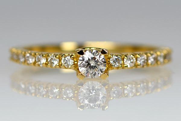 K18YG製イエローゴールドハートモチーフダイアモンドリング指輪