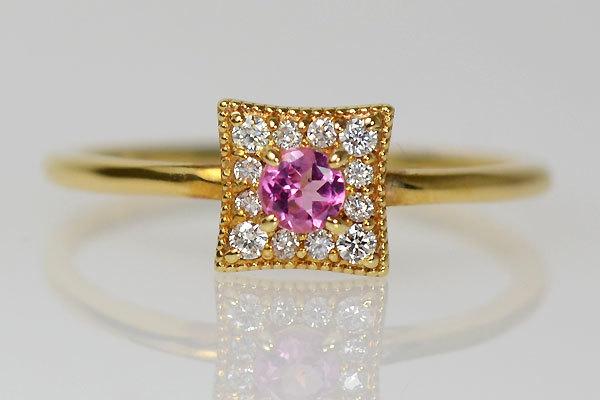 K18YG製ピンクトルマリン・ダイアモンドリング指輪10月誕生石
