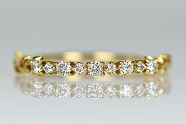 K18YG製ダイアモンドハーフエタニティリング指輪贈り物プレゼント