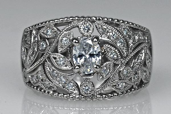 Pt900製プラチナオーバルカットダイアモンドリング葉飾り指輪葉っぱモチーフ着物