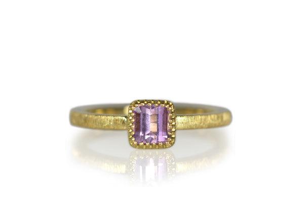 K18YG製イエローゴールドピンクトパーズリング指輪手作りハンドメイドジュエリー彫金筋彫り11月誕生石