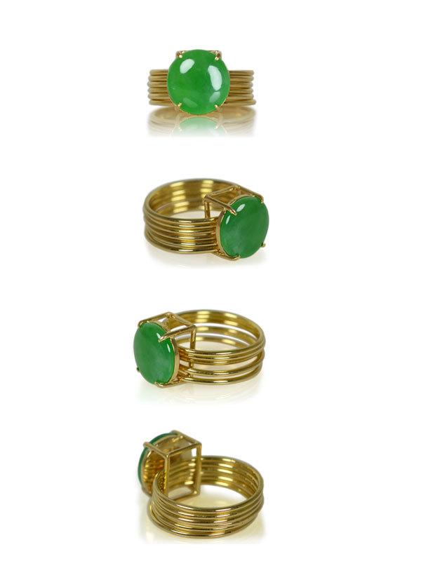 K18YG製イエローゴールド翡翠指輪リングひすい