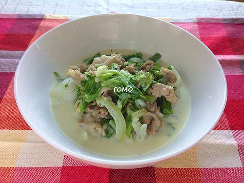 白菜と菜の花と豚肉の豆乳クリーム煮