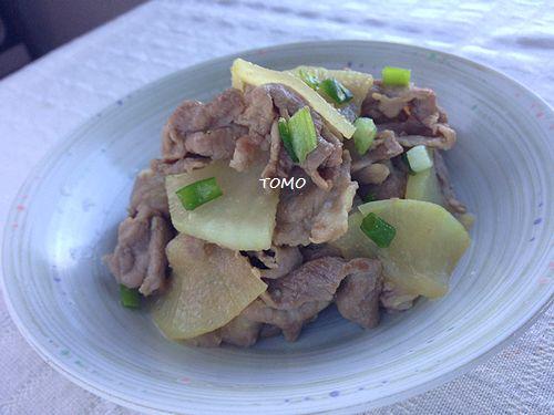 ニンニク香る♪大根と豚肉の麺つゆ炒め