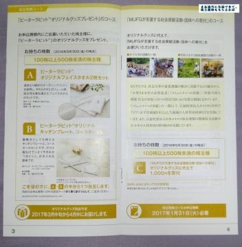 三菱UFJ 優待案内 201609