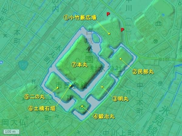 高岡城地形図