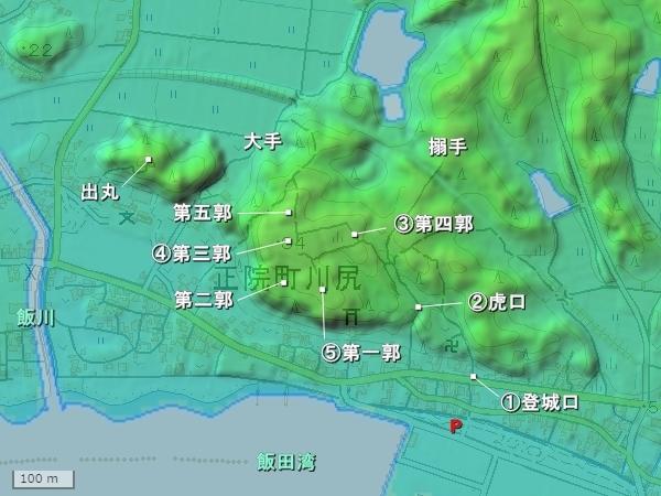 正院川尻城_地形図