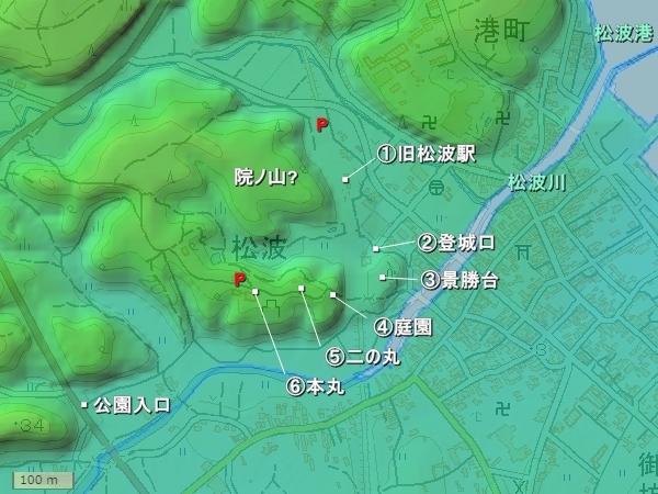 松波城_地形図