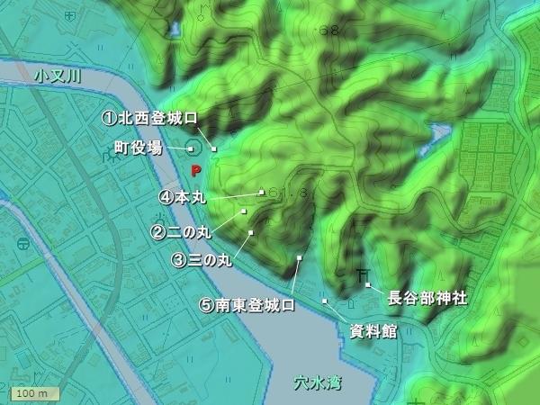 穴水城_地形図