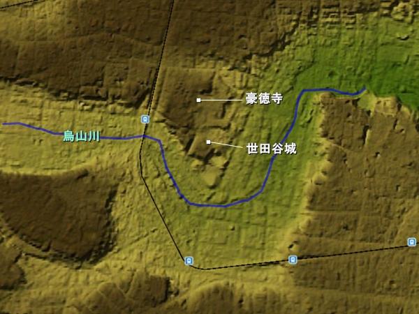 世田谷城_地形図