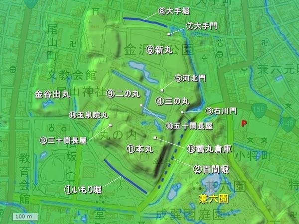 金沢城_地形図
