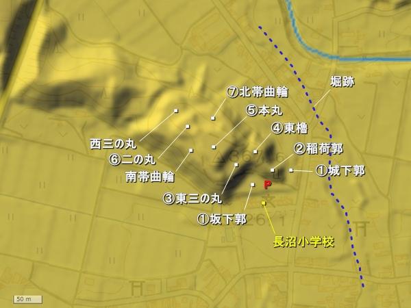 長沼城_地形図