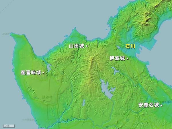 恩納村読谷村地形図