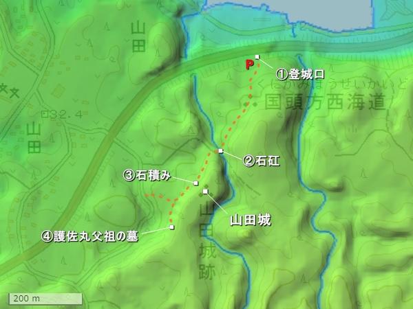 山田城地形図