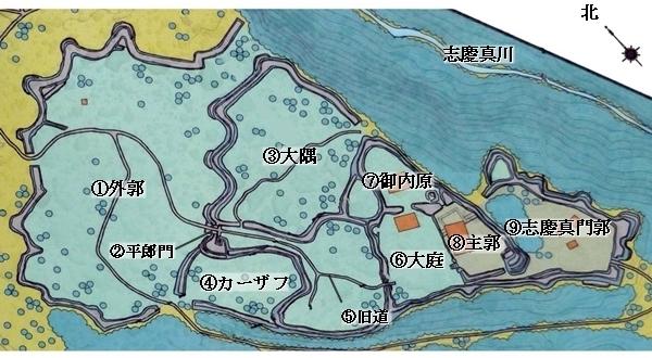 今帰仁城縄張図
