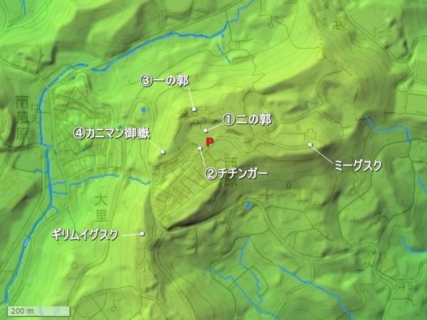 島添大里城地形図
