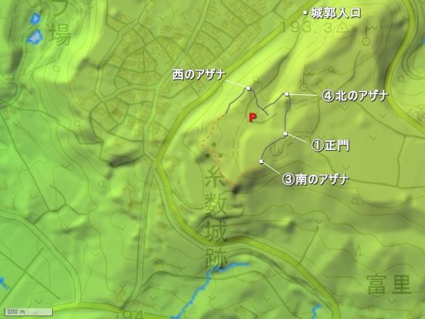 糸数城地形図