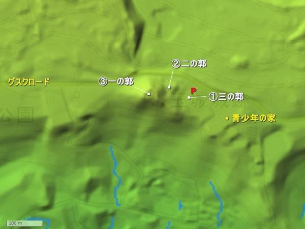 玉城城地形図