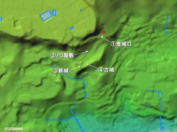 知念城地形図