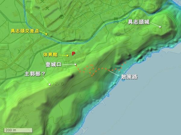 多々名城地形図