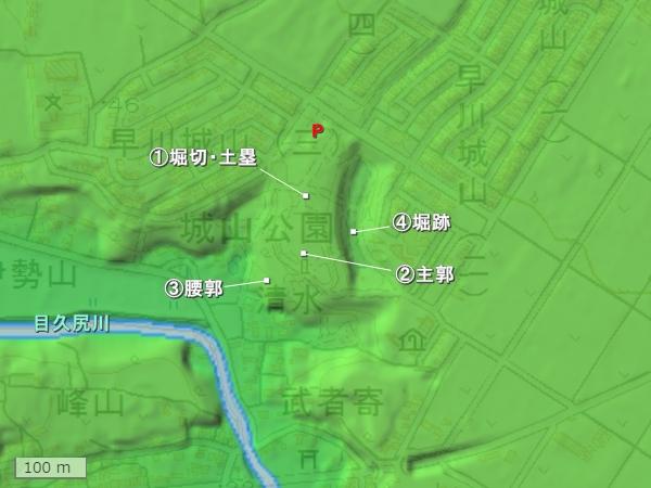 早川城地形図