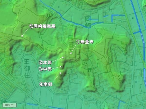 岡崎城地形図