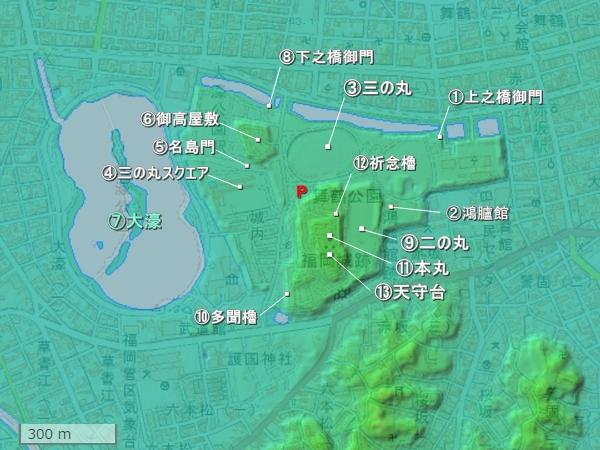 福岡城地形図