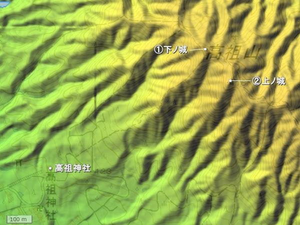 高祖城地形図