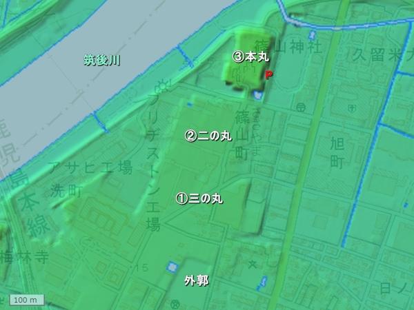 久留米城地形図