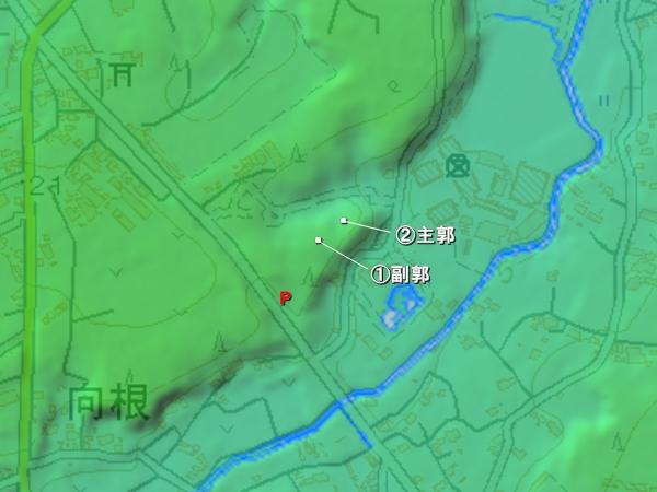 増尾城地形図
