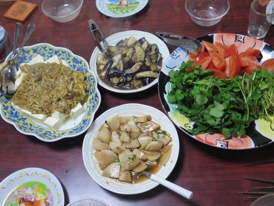 クレソンとトマト、豆腐のカレーあんかけ、茄子の塩ダレいため、大根のポン酢いため
