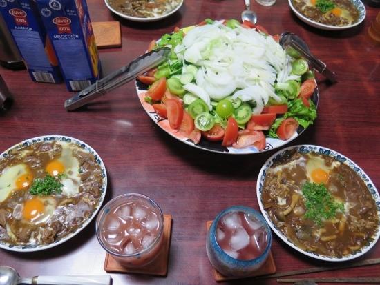 ハッシュドビーフ、サラダ
