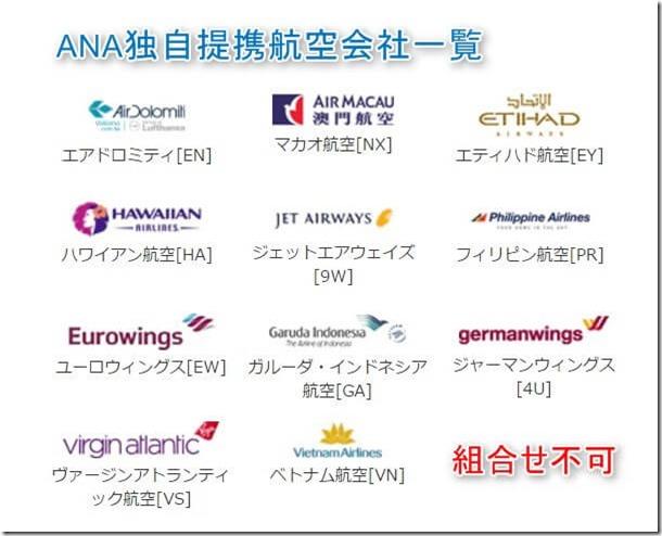 ANA独自提携航空会社一覧