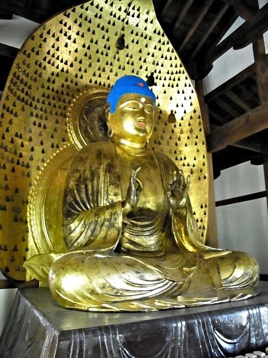 修理修復成った、浄真寺九品仏・中品中生像