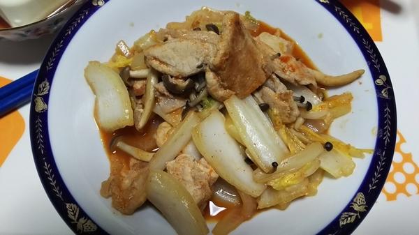 白菜と豚のキムチ炒め (5)