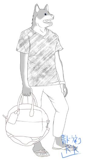 シャツ柴犬白黒
