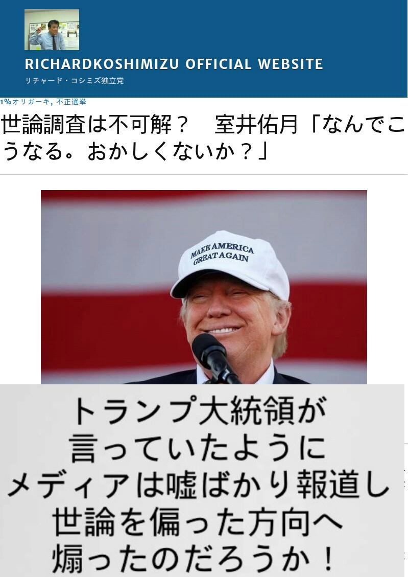 室井佑月【世論調査は不可解】おかしくないか!トランプ大統領が言っていたようにメディアは嘘ばかり報道