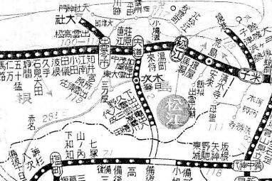 昭和10年の時刻表添付の路線図のアップ