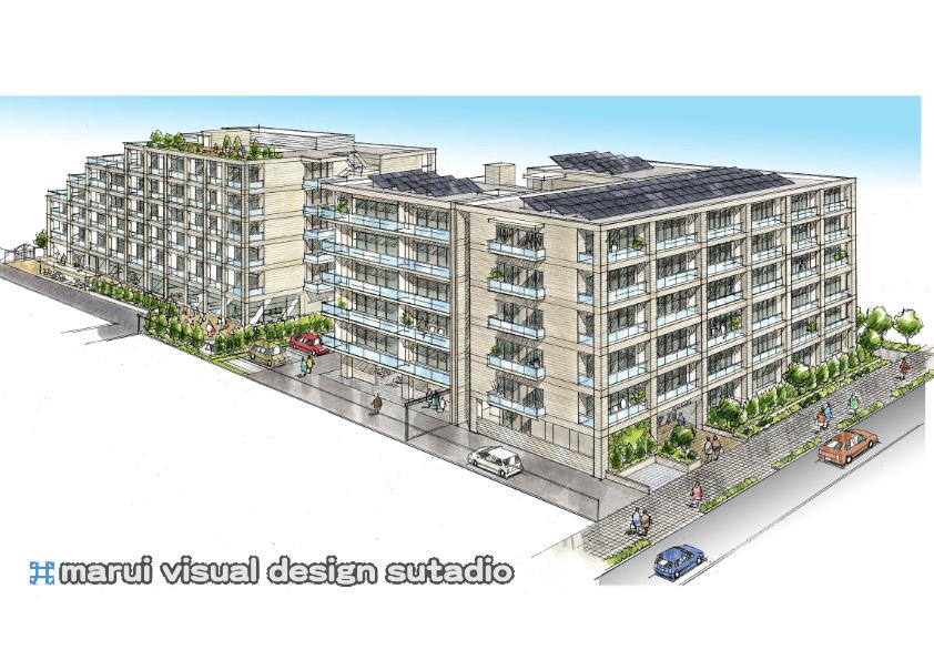 吉田町計画・鳥瞰外観パース