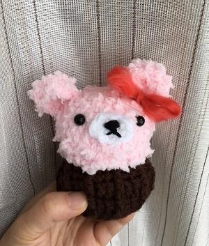 20170131 くまのカップケーキのあみぐるみ ピンク