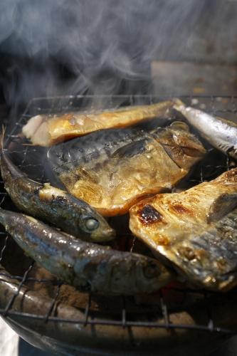 鯖と目刺しの炭火焼