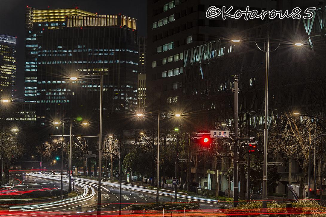 冬の深夜、国会前三叉路 20170120