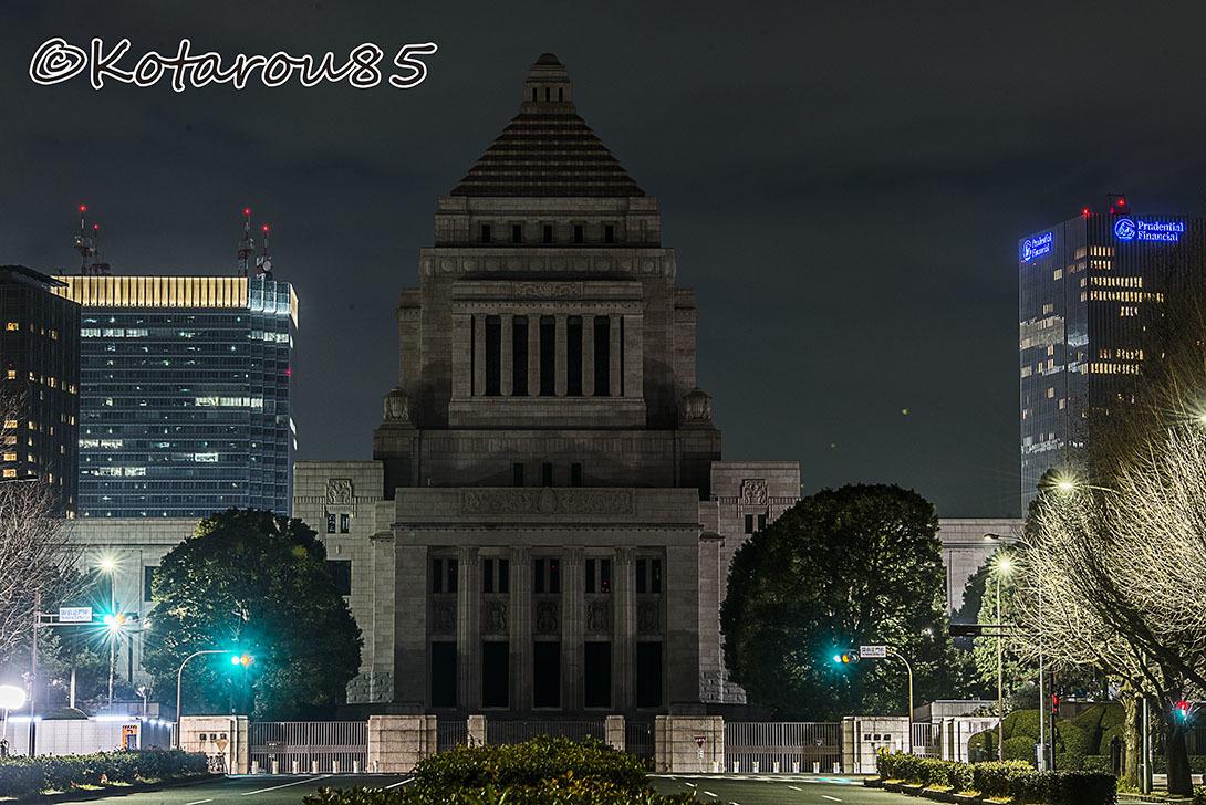 深夜の国会議事堂 20170125