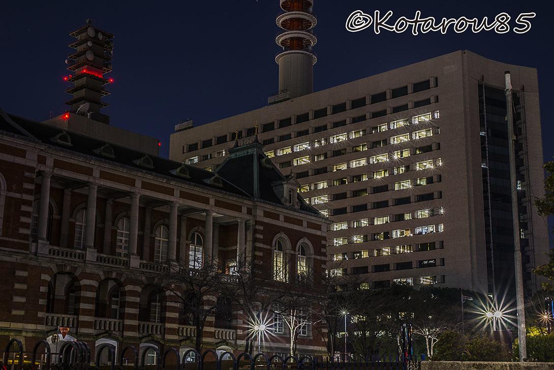 冬の深夜 法務省庁舎と警視庁庁舎 20170204